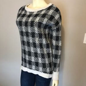 Express Black and White Plaid Sweater Size S #164